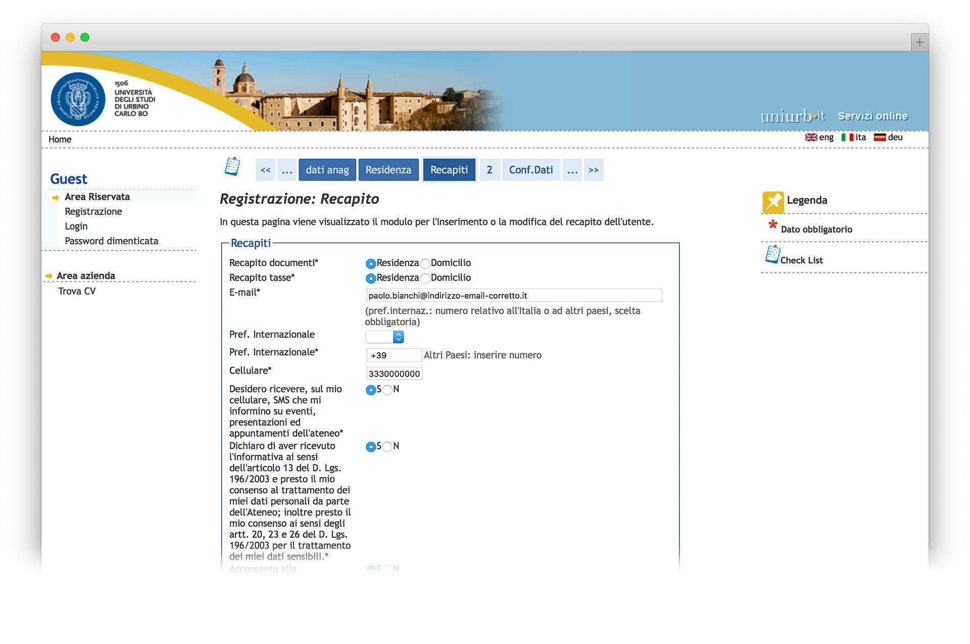 Email e recapiti per contatti