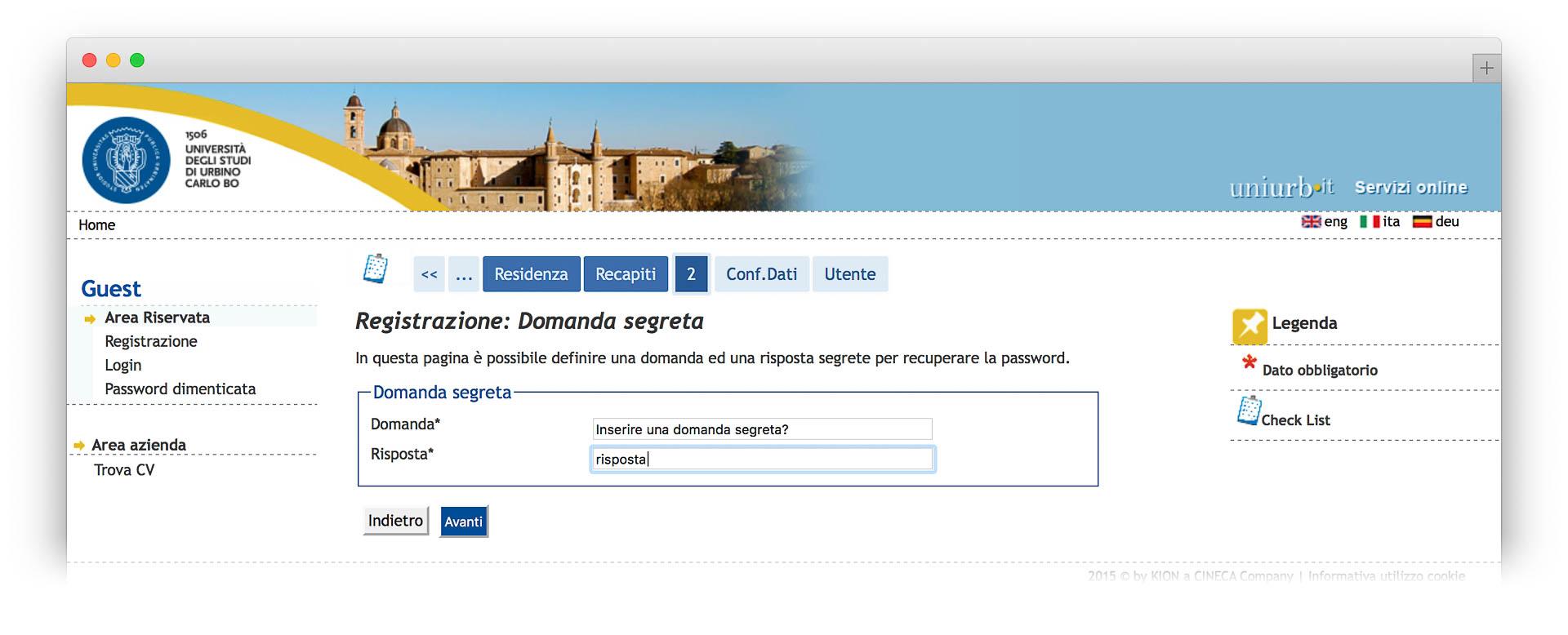 Domanda Segreta per il recupero password