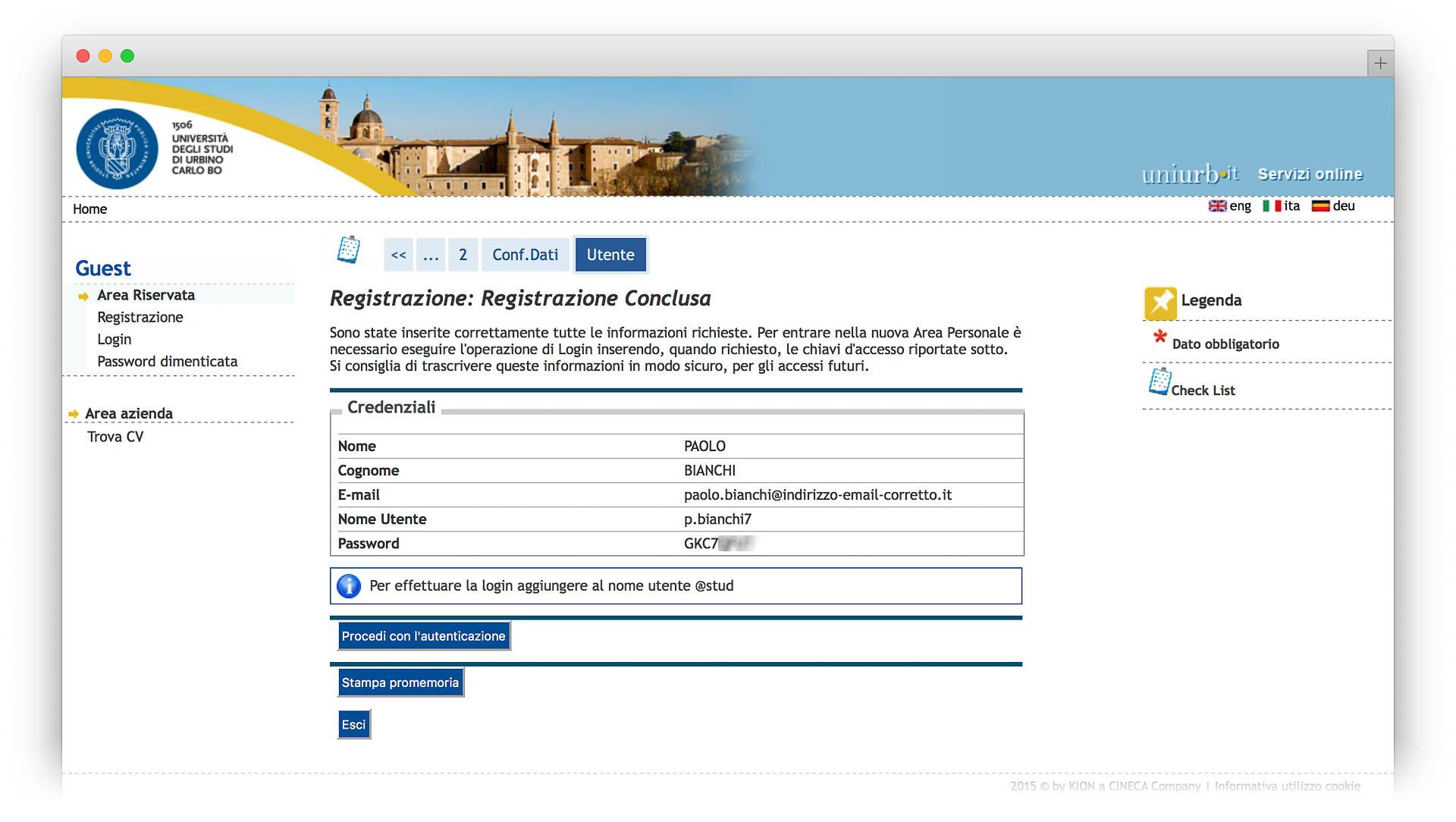 Registrazione conclusa