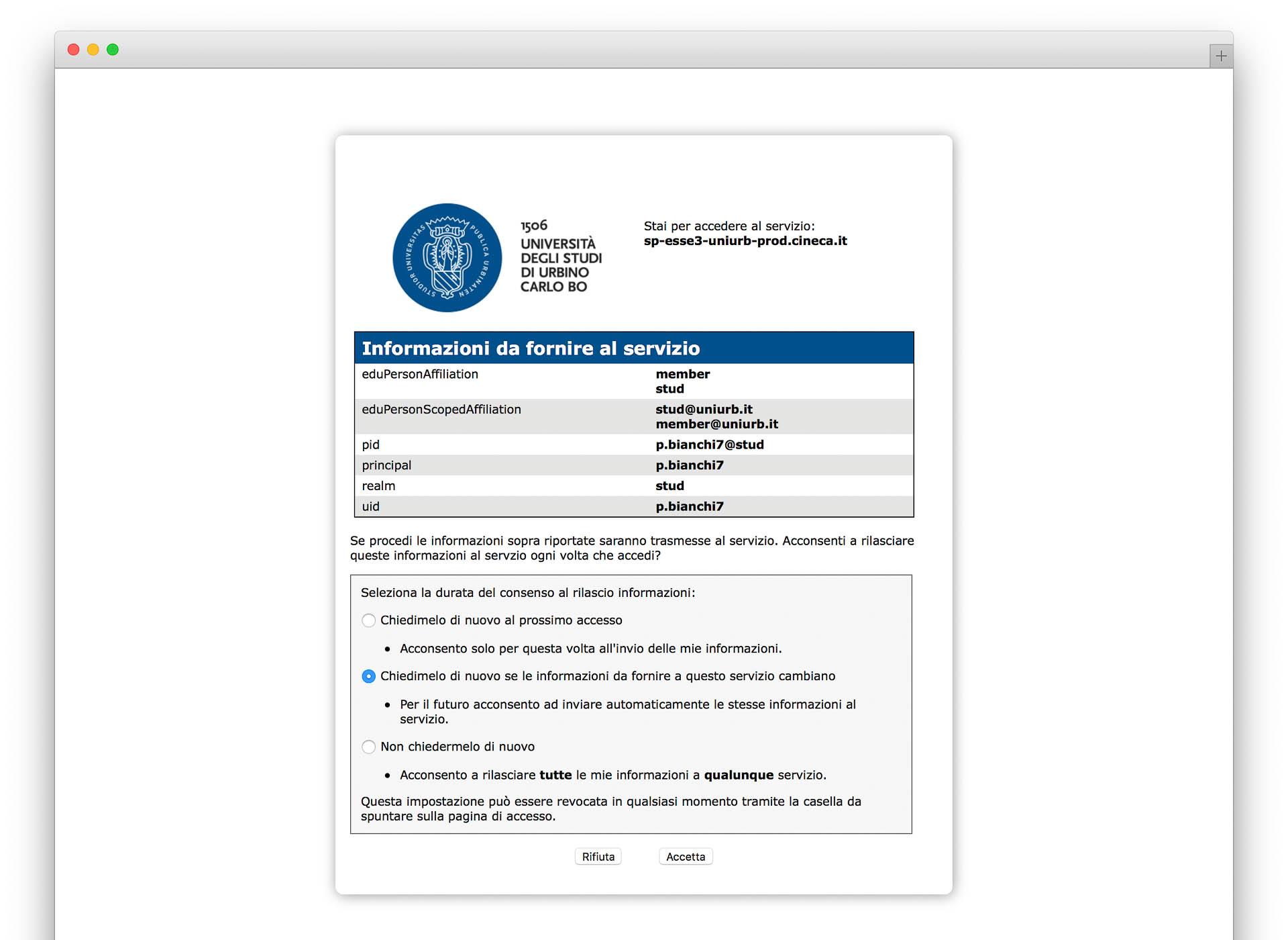 accettazione autorizzazione dati privacy