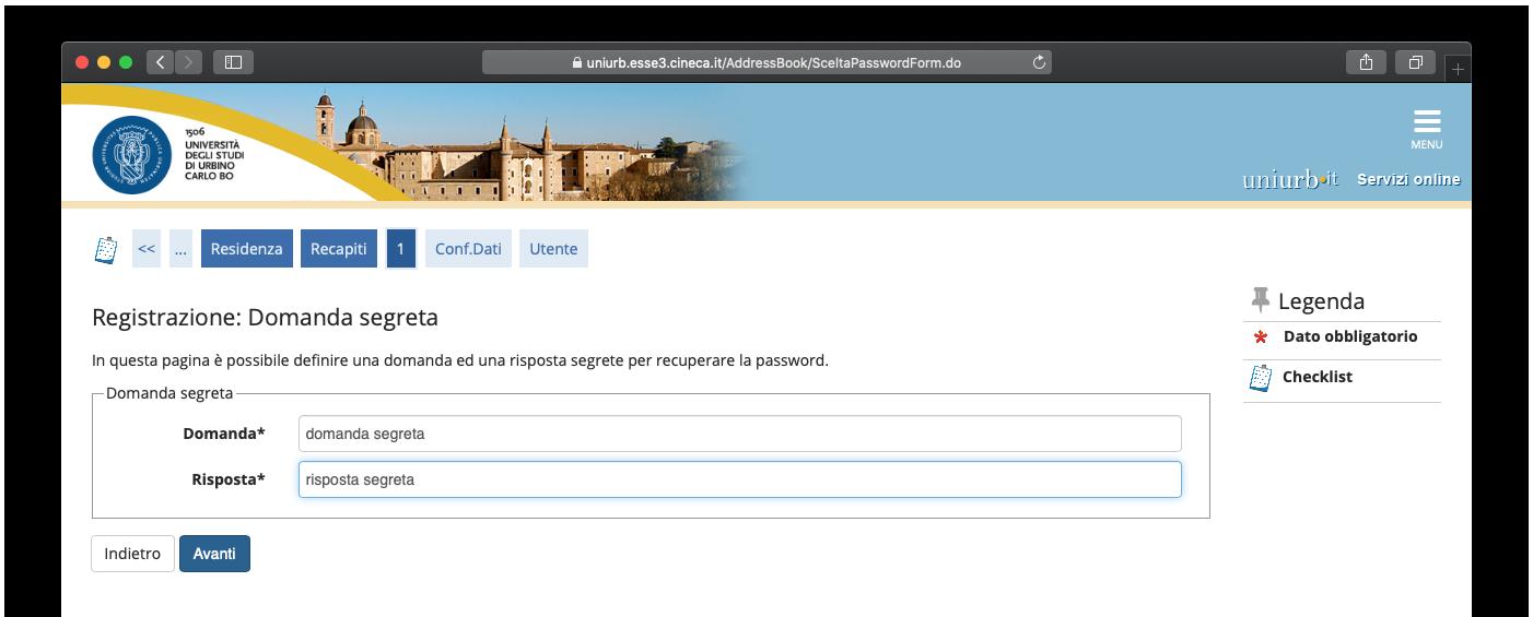 Inserimento domanda: risposta segreta per recupero password